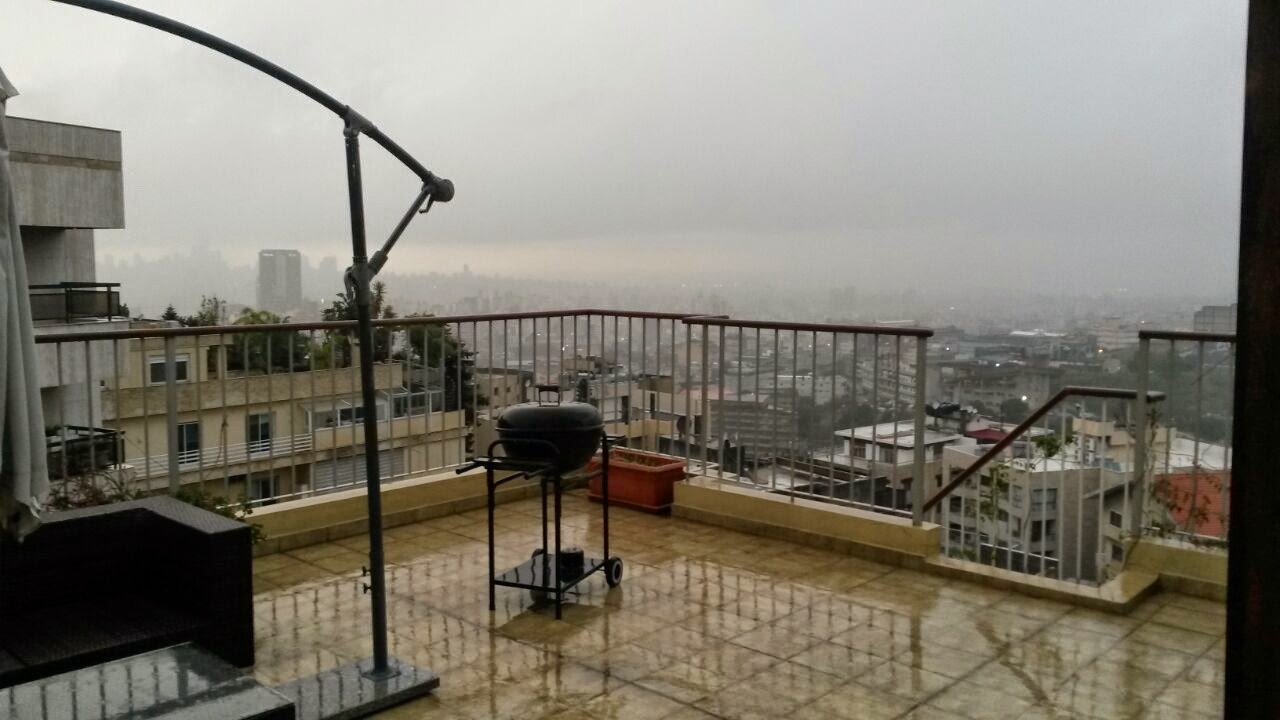 Sea and beirut view apartment for sale in hazmieh mar for Terrace beirut